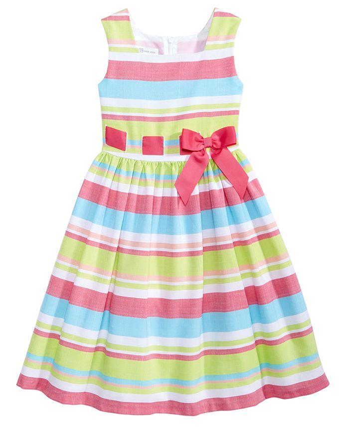Bonnie Jean - Striped Linen Dress, Big Girls