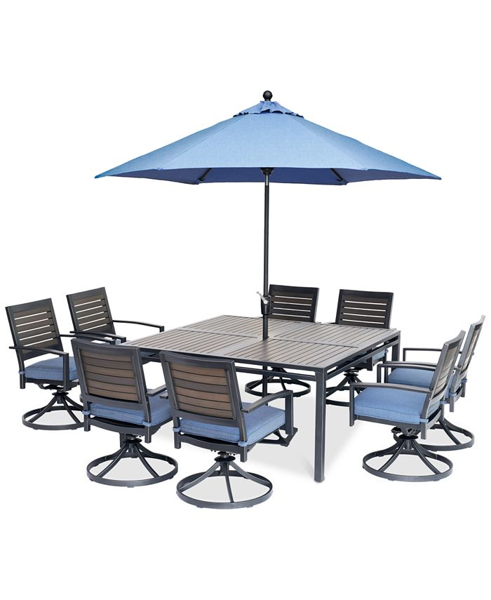 """Furniture - Harlough II Outdoor 9-Pc. Dining Set (62"""" Square Dining Table and 8 Swivel Rockers) with Sunbrella® Cushions"""