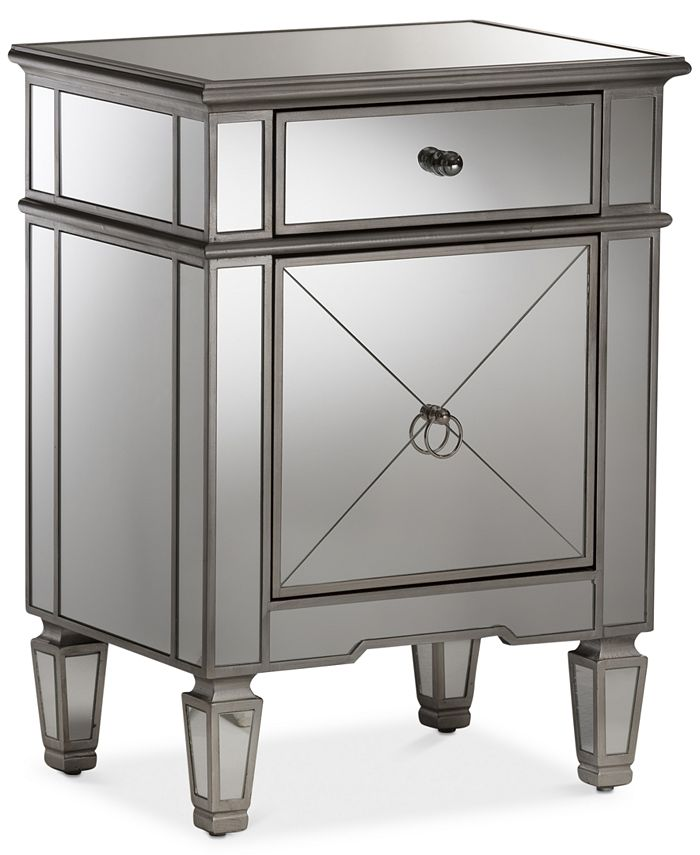 Furniture - Claudia Mirrored Nightstand, Quick Ship