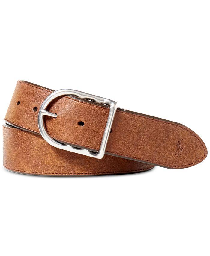 Polo Ralph Lauren - Accessories, Distressed Leather Centerbar Buckle Belt