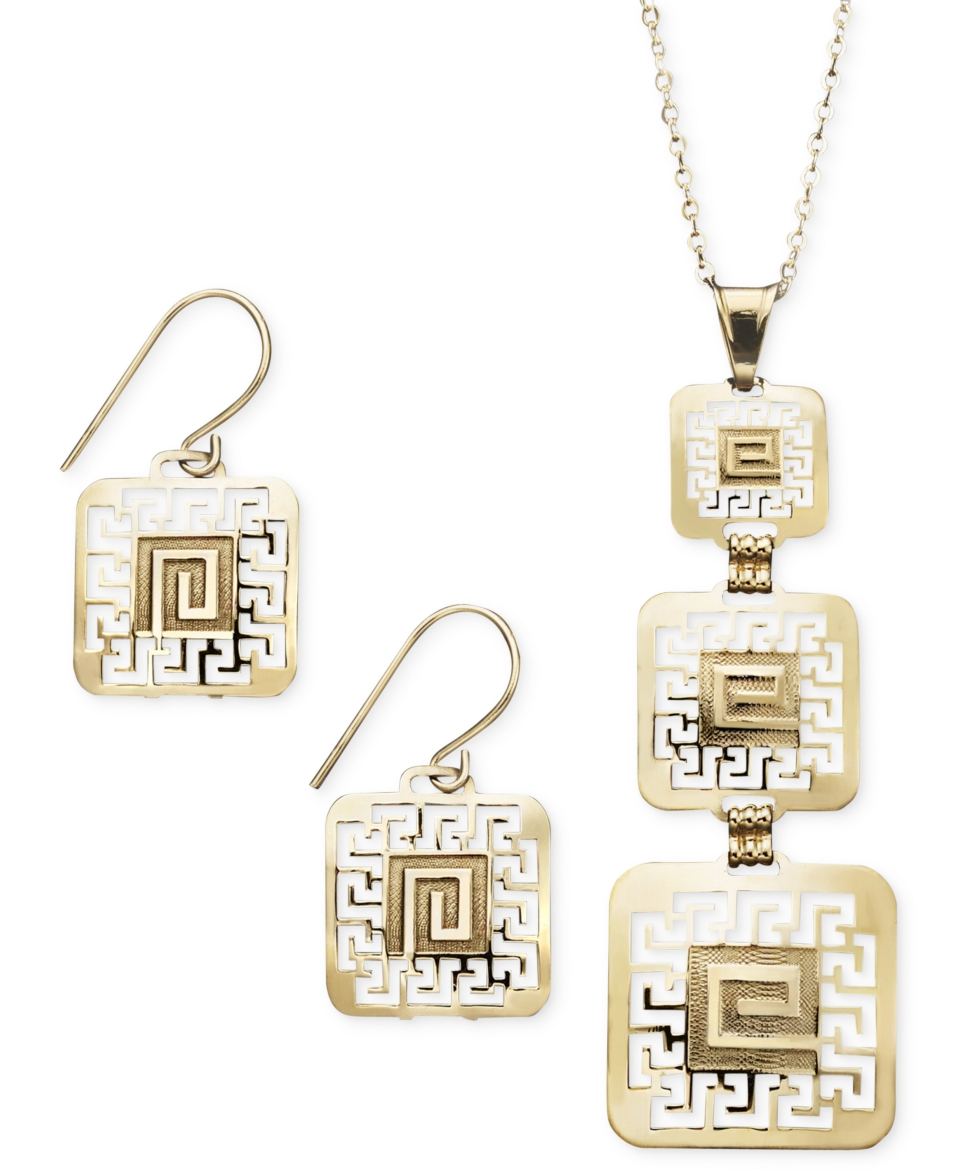 14k Gold over Sterling Silver and Sterling Silver Earrings and Pendant Set, Square Greek Key   Jewelry & Watches