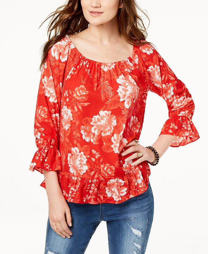 INC International Concepts - Printed Off-The-Shoulder Peasant Top