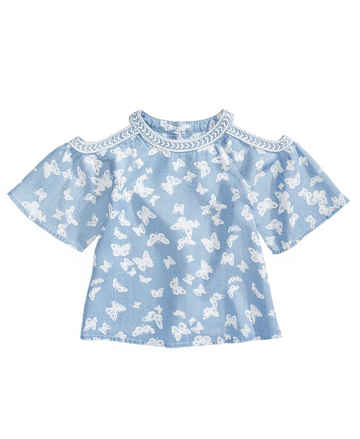 Epic Threads - Butterfly-Print Cold-Shoulder Top, Little Girls