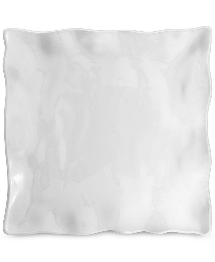 Q Squared - Medium White Ruffle Square Melamine Platter