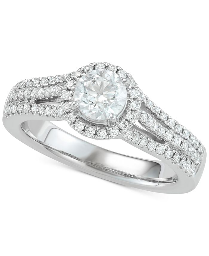 Marchesa - Diamond Halo Engagement Ring (1 ct. t.w.) in 18k White Gold
