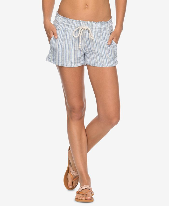 Roxy - Juniors' Oceanside Cotton Striped Drawstring Shorts