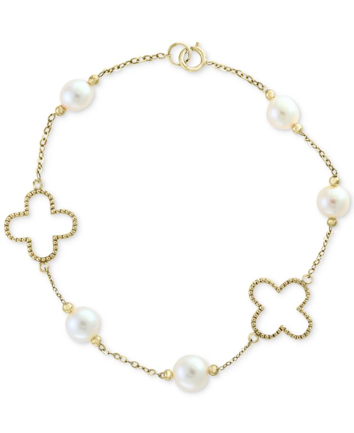 EFFY Collection Pearl by EFFY® White Cultured Freshwater Pearl (6mm) Flower Bracelet in 14k Gold & Reviews - Bracelets - Jewelry & Watches - Macy's