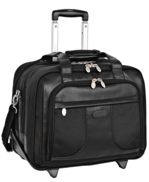 "McKlein Rolling Laptop Case with Removable Briefcase, 17"" Chicago Leather Business Case"