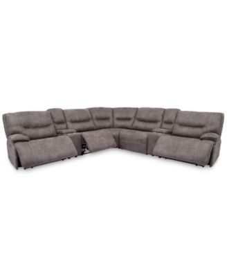 """Felyx 133"""" 7-Pc. Fabric Sectional Sofa With 3 Power Recliners, Power Headrests, 2 Consoles And USB Power Outlet"""