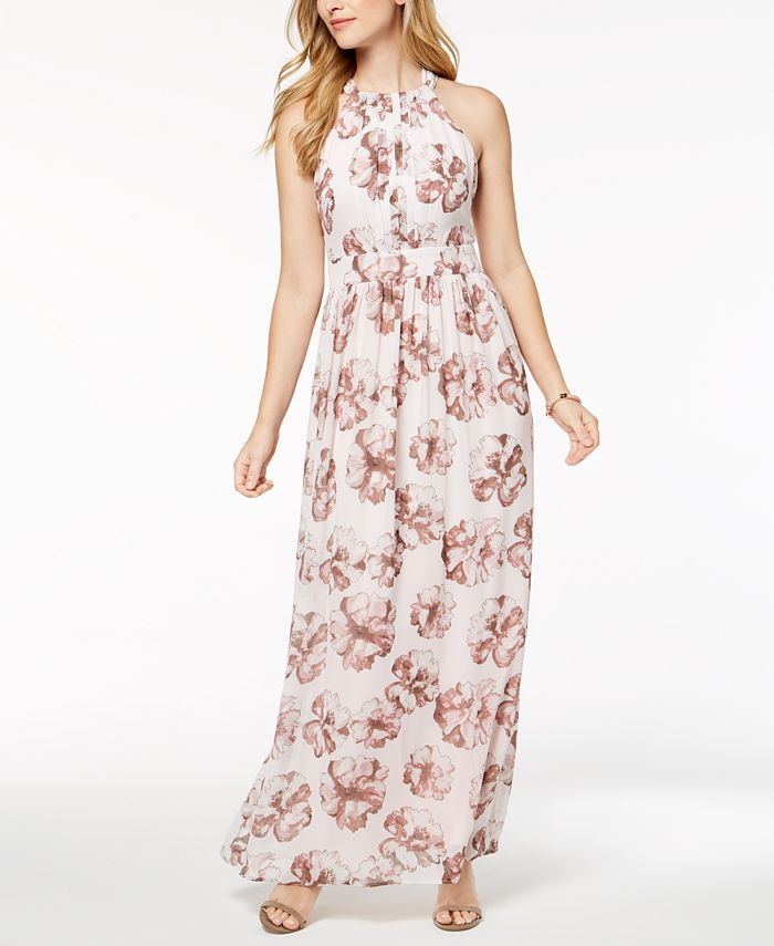 Nine West - Printed Halter Maxi Dress