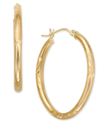 14k Gold Oval Hoop Earrings