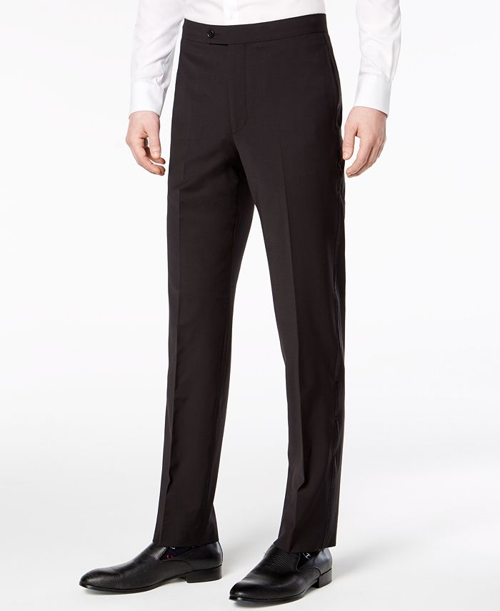 Calvin Klein - Men's Slim-Fit Infinite Stretch Black Tuxedo Suit Pants