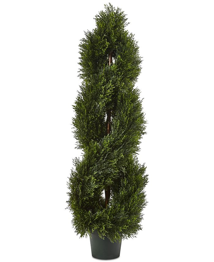 Nearly Natural - 4' Double Pond Cypress UV-Resistant Indoor/Outdoor 1036-Leaf Spiral Topiary