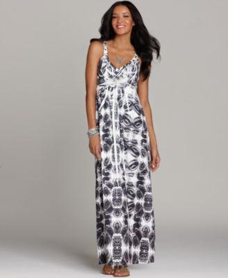 Style&co. Dress, Sleeveless Empire Waist Printed Maxi