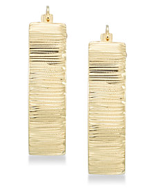 Signature Gold™ Diamond Accent Textured Hoop Earrings in 14k Gold over Resin