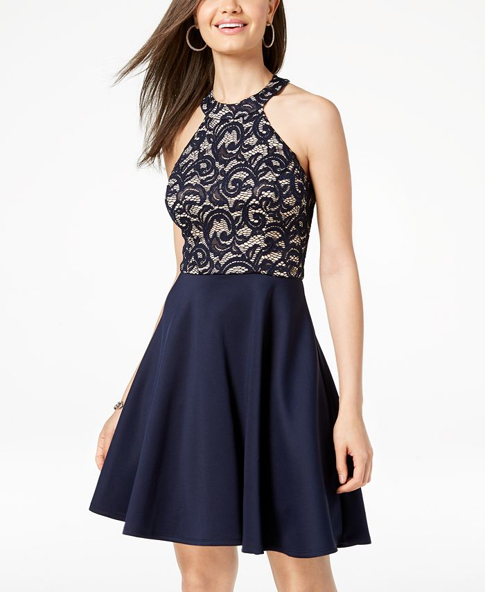 B Darlin - Juniors' Strappy Lace Halter Fit & Flare Dress