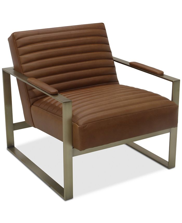 Furniture - Elmie 30'' Leather & Brass Accent Chair