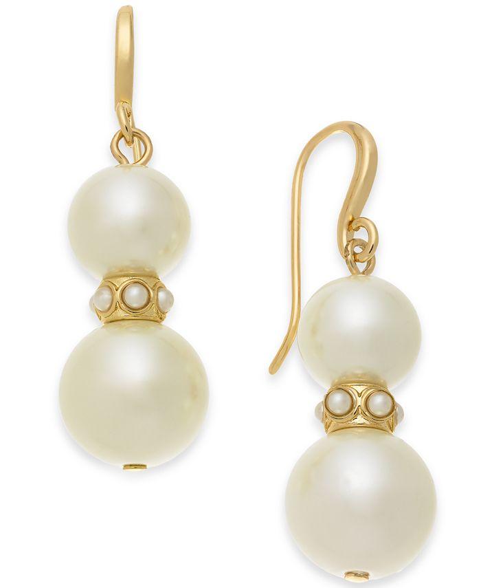 Charter Club - Gold-Tone Imitation Pearl Drop Earrings