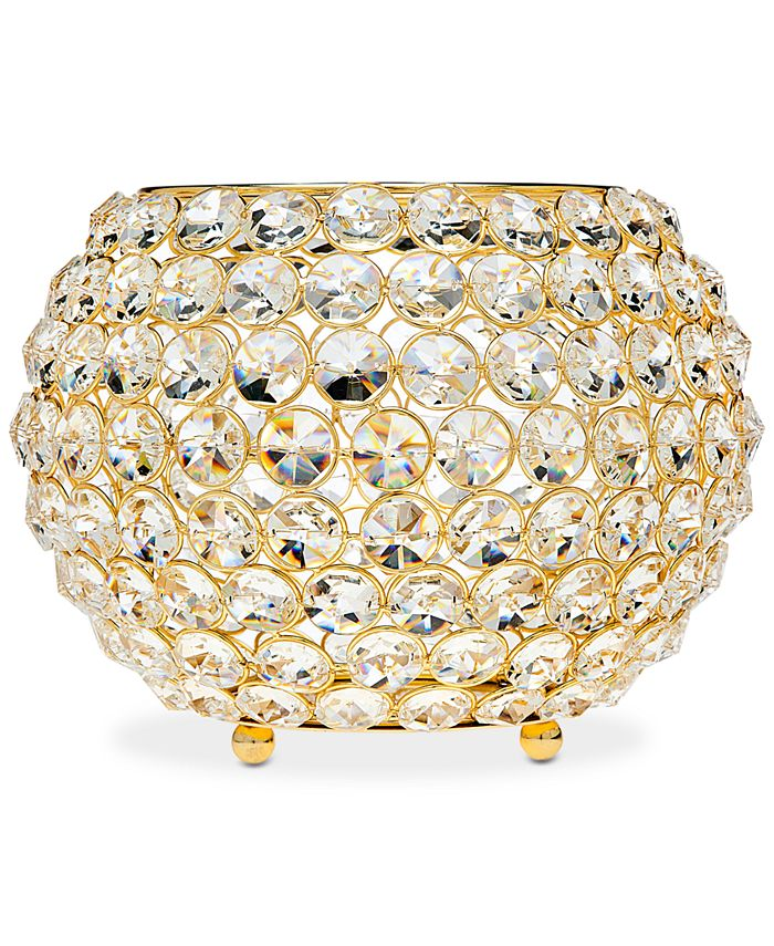 """Godinger - Lighting by Design Glam Gold-Tone Ball Crystal 10"""" Tealight Holder"""