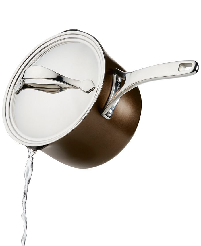 Anolon - Nouvelle 3.5-Qt. Copper Luxe Sable Hard-Anodized Non-Stick Straining Saucepan