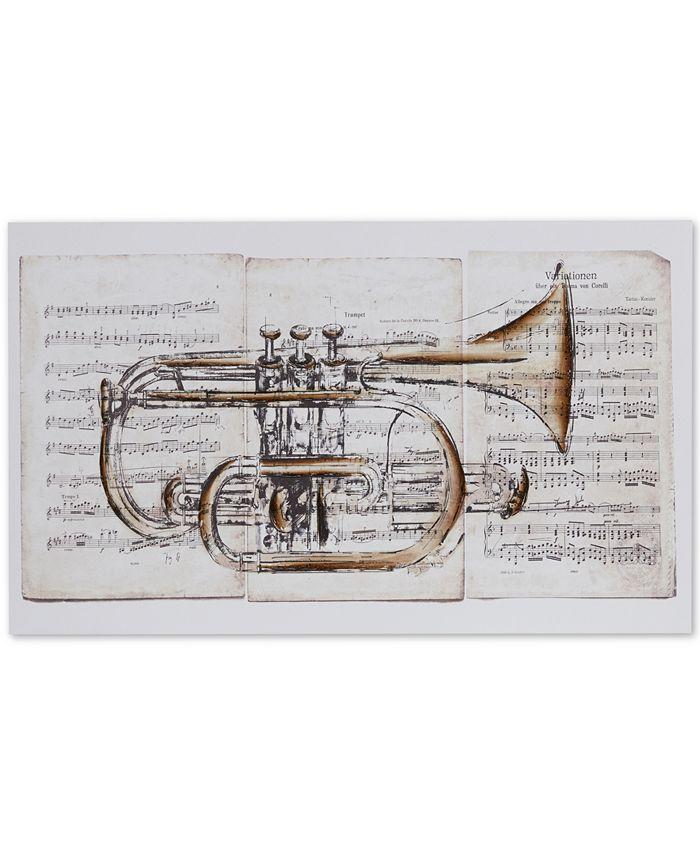 JLA Home - Brass Trumpet Hand-Embellished Canvas Print