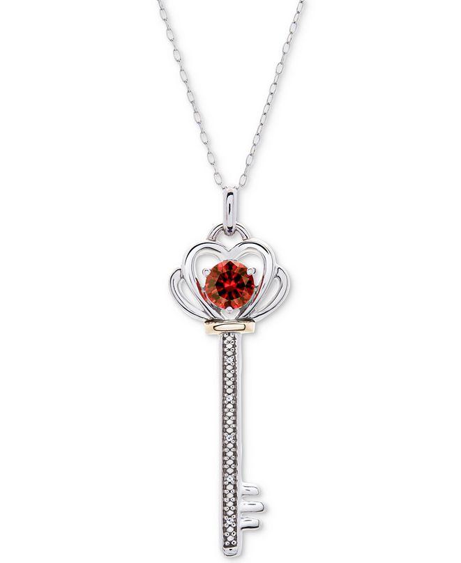 "Macy's Rhodolite Garnet (5/8 ct. t.w.) & Diamond Accent Key 18"" Pendant Necklace in Sterling Silver & 10k Gold"