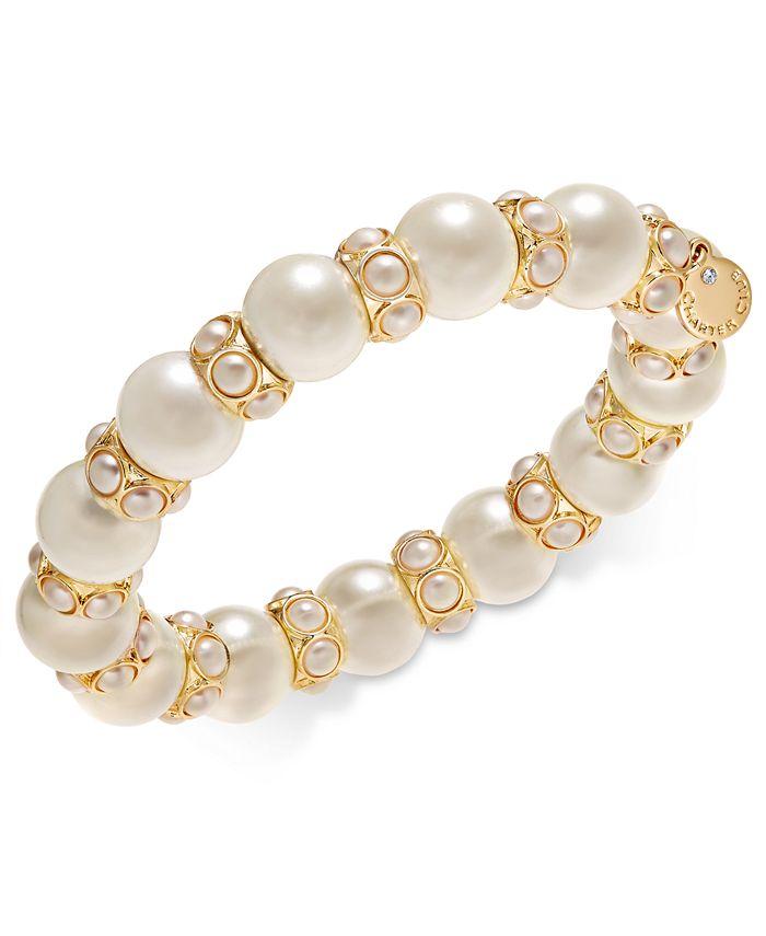Charter Club - Gold-Tone Imitation Pearl Stretch Bracelet