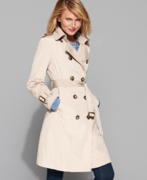 London Fog Petite Jacket, Double Breasted Belted Trench Coat