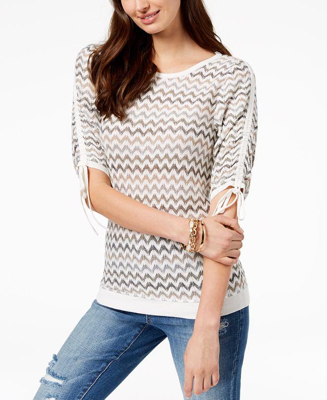 INC International Concepts I.N.C. Chevron-Print Drawstring-Sleeve Sweater, Created for Macy's