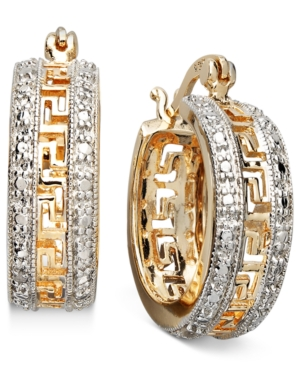 Victoria Townsend 18k Gold Over Sterling Silver Earrings, Diamond Accent Greek Key Hoop Earrings