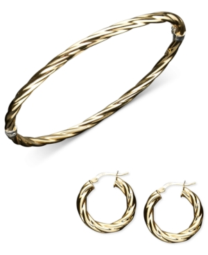 14k Gold and Sterling Silver Jewelry Set, Bangle and Hoop Twist