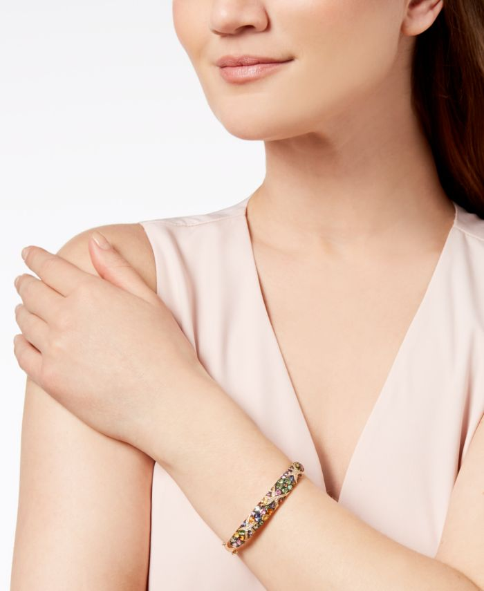EFFY Collection Watercolors by EFFY® Multicolor Sapphire (7-5/8 ct. t.w.) and Diamond (1/4 ct. t.w.) Starfish Bangle in 14k Gold, Created for Macy's & Reviews - Bracelets - Jewelry & Watches - Macy's