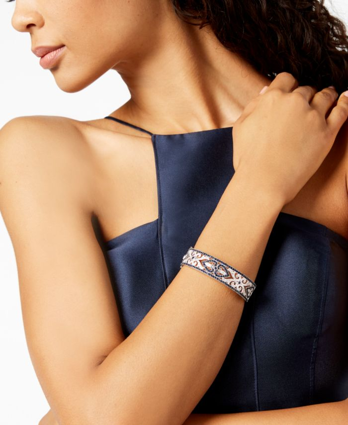 Macy's Sterling Silver Bracelet, Sapphire (3-3/4 ct. t.w.) and Diamond (1/4 ct. t.w.) Heart Bangle (Also Available in Emerald and Ruby) & Reviews - Bracelets - Jewelry & Watches - Macy's