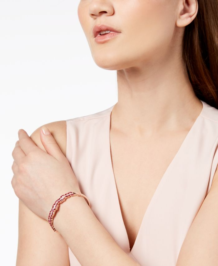 EFFY Collection Rosa by EFFY® Ruby (4-3/8 ct. t.w.) and Diamond (3/4 ct. t.w.) Bangle Bracelet in 14k Rose Gold, Created for Macy's & Reviews - Bracelets - Jewelry & Watches - Macy's
