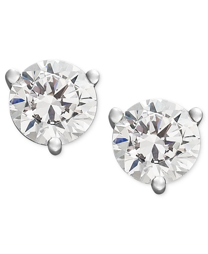 Macy's - Near Colorless Diamond 3-Prong Stud Earrings (1/4-2 ct. t.w.) in 18k White and Yellow Gold