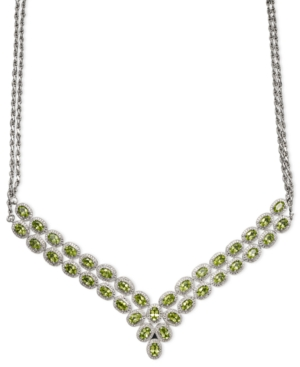 Sterling Silver Necklace, Peridot (18 ct. t.w.) and Diamond Accent Two Row Pendant Necklace