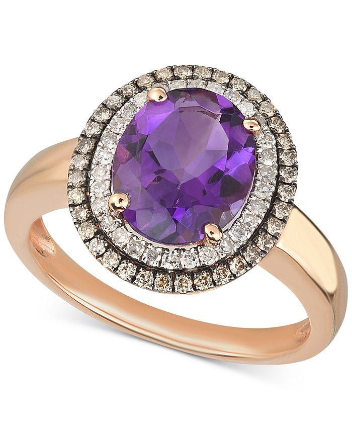 Macy's - Amethyst (2-1/3 ct. t.w.) & Diamond (1/3 ct. t.w.) Ring in 14k Rose Gold