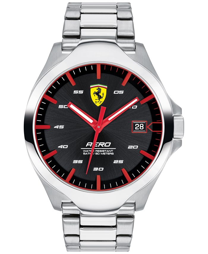 Ferrari - Men's Aero Stainless Steel Bracelet Watch 44mm