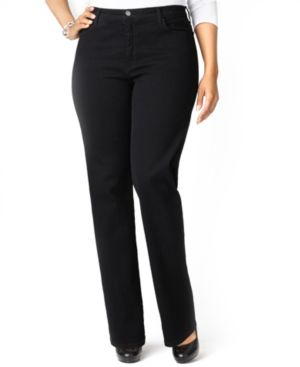 Nydj Plus Size Marilyn Straight-Leg Jeans, Black Wash