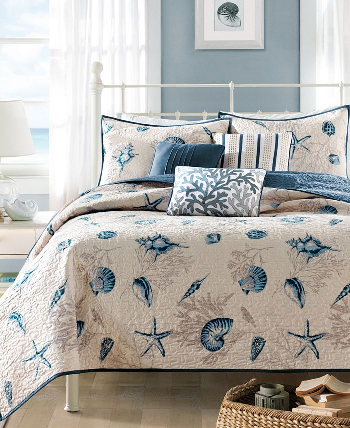 Madison Park - Bayside 6-Pc. Quilted Full/Queen Coverlet Set
