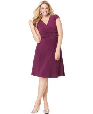 Jones New York Plus Size Dress, Surplice A-Line Matte Jersey