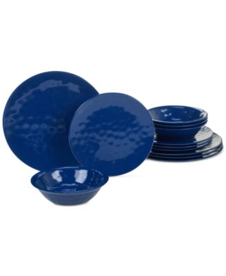 Cobalt Blue 12-Pc. Melamine Dinnerware Set, Service for 4