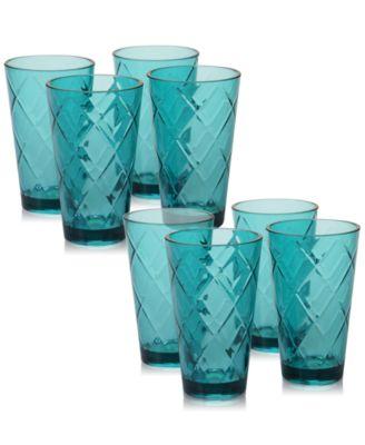 Teal Diamond Acrylic 8-Pc. Iced Tea Glass Set