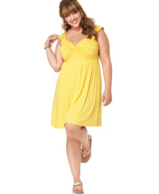 Soprano Plus Size Dress, Sleeveless Twist Front Empire