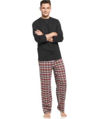Club Room Sleepwear Box Set, Long Sleeve Crew and Flannel Pajama Pants