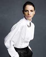 Karl Lagerfeld for Impulse Top, Long Sleeve Stretch Poplin Button Detail