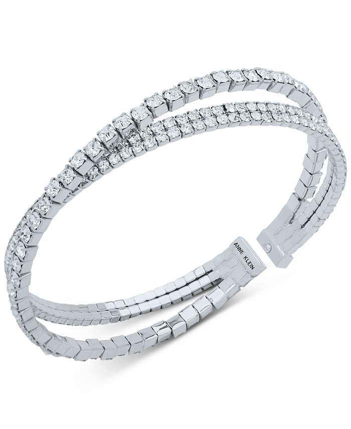 Anne Klein - Crystal Crisscross Coil Cuff Bracelet
