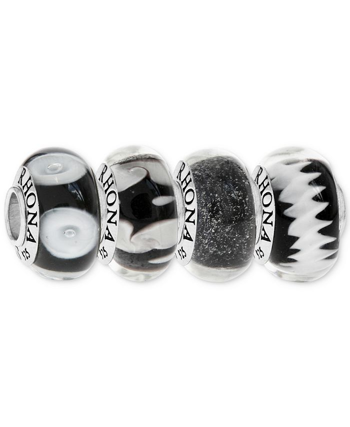 Rhona Sutton - 4-Pc. Set Painted Glass Bead Charms in Sterling Silver
