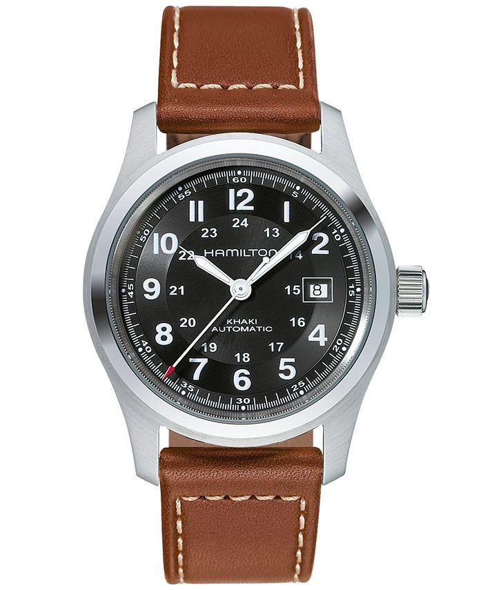 Hamilton - Watch, Men's Swiss Automatic Khaki Field Brown Leather Strap 42mm H70555533