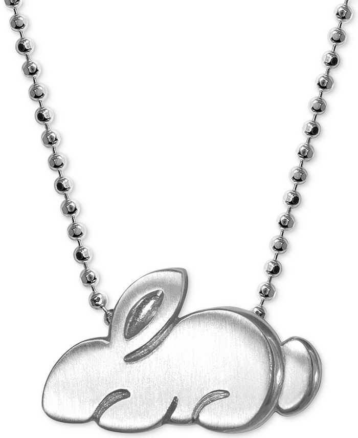 """Alex Woo - Rabbit 16"""" Pendant Necklace in Sterling Silver"""